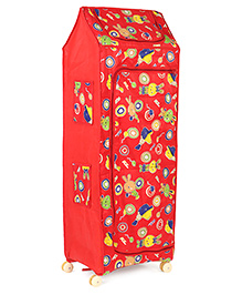 Kids Zone Multipurpose Folding Almirah With Wheels Bunny Print - Red