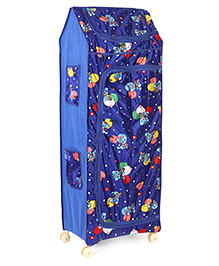 Kids Zone Multipurpose Folding Almirah With Wheels Teddy Bear Print - Blue