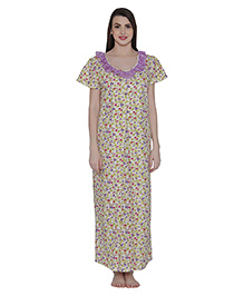 Clovia Cotton Rich Floral Print Maternity Nighty - Purple