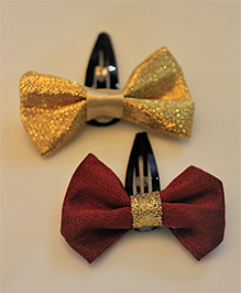 Many Frocks & Pack Of 2 Bow Hair Clips - Golden & Maroon