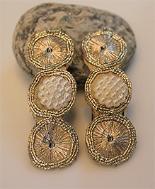 Many Frocks & Pack Of 2 Fancy Bead And Golden Work Clips- Golden