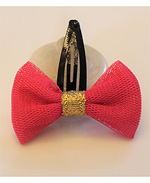 Many Frocks & Bow Hair Clip With Lace - Pink