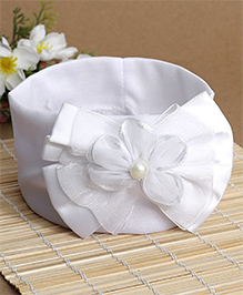 Babyhug Bow & Floral Applique Headband - White