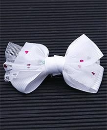 Babyhug Heart Design Bow Alligator Hair Clip - White