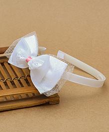 Babyhug Hair Band Double Bow Motif - White