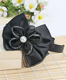 Babyhug Hair Band Bow & Floral Motif - Black