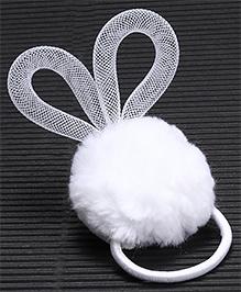 Babyhug Pom Pom Hair Rubber - White