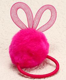 Babyhug Design Pom Pom Hair Rubber - Dark Pink