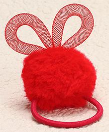 Babyhug Design Pom Pom Hair Rubber - Red