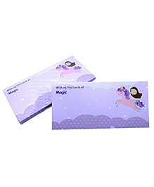 Baby Oodles Gift Envelope Flying Unicorn Print Purple - Pack Of 6