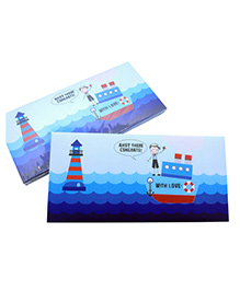 Baby Oodles Gift Envelope Lil Sailor Print Blue - Pack Of 6