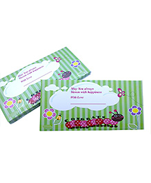 Baby Oodles Gift Envelope Flower & Butterfly Print Green - Pack Of 6