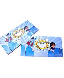 Baby Oodles Gift Envelope Super Hero Print Blue - Pack Of 6