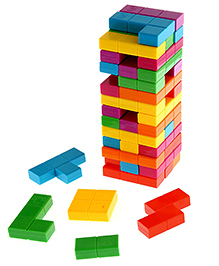 Emob Jenga Tetris Tower Stacking Game - Multi Color