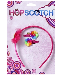 Hopscotch - Hair Band And Snap Clip With Multicoloured Flower