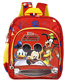 Disney School Bag Mickey Mouse Print Red - 10 Inches