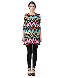 Innovative Maternity Tunic Top With Zig Zag Shoulder Pleats - Multicolor