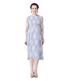 Innovative Lace Maternity A Line Dress - Blue