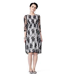 Innovative Lace Maternity A Line Dress - Black & White
