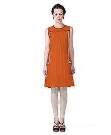 Innovative Machine Embroidery Boho Maternity Tunic Top - Orange