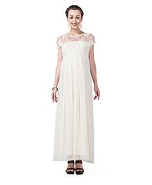 Innovative Lace Long Maternity Dress - White