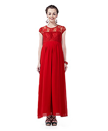 Innovative Lace Long Maternity Dress - Red