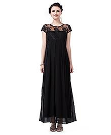 Innovative Lace Long Maternity Dress - Black