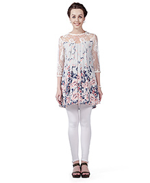 Innovative Lace Yoke & Sleeve Maternity Tunic Top - White
