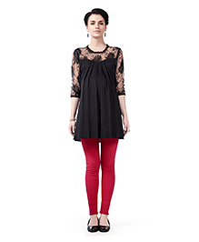 Innovative Lace Yoke & Sleeve Maternity Tunic Top - Black