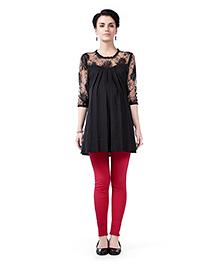 Innovative Lace Yoke & Sleeve Maternity Tunic Top - Black