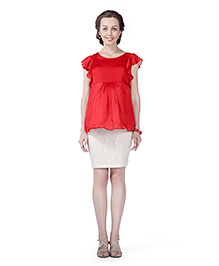 Innovative Maternity Tunic Top & Skirt Set - Red & White