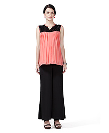 Innovative Maternity Tunic Top & Palazzo Set - Peach & Black