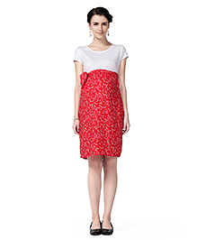 Innovative Maternity A Line Floral Dress - Red & White