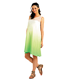 Innovative Lace Design Maternity Casual Dress - Green