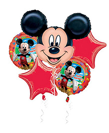 Funcart Mickey Mouse Birthday Foil Balloon Bouquet Red - 5 Pieces