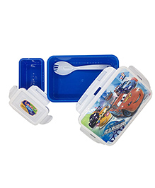 Funcart Lunch Box With Fork Spoon Disney Pixar Cars Print - Blue & White