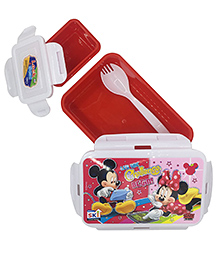 Funcart Mickey Mouse & Friends Lunch Box With Fork Spoon - Red & White