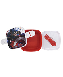 Funcart Captain America Lunch Box With Fork Spoon - Red & White