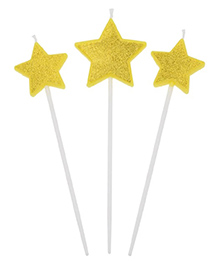 Funcart Star On Stick Candle Golden - Pack Of 3