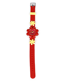 Analog Wrist Watch Floral Motif - Red & Yellow