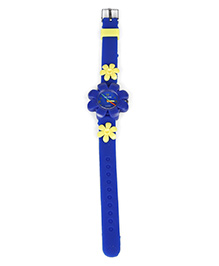 Analog Wrist Watch Floral Motif - Royal Blue