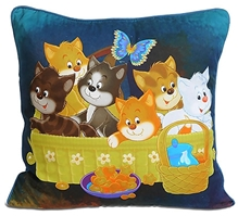 Swayam - Digital Kittens Print Kids Cushion Cover