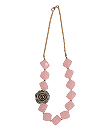 The Tiny Trunk Rose Applique Necklace - Light Pink