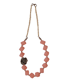The Tiny Trunk Cube & Rose Applique Necklace - Light Pink