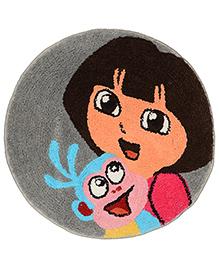 Saral Home Dora Theme Anti Slip Microfiber Mat - Grey Pink