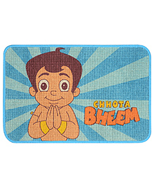 Saral Home Chotta Bheem Theme Jute Cotton Door Anti Slip Mat - Blue