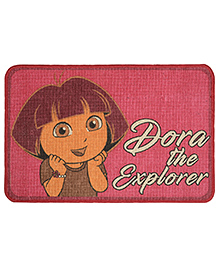 Saral Home Dora Theme Jute Cotton Door Anti Slip Mat - Dark Pink