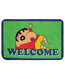 Saral Home Shinchan Theme Jute Cotton Anti Slip Door Mat - Blue Green