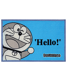 Saral Home Doraemon Theme Polyester Anti Slip Door Mat - Blue