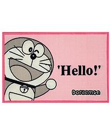 Saral Home Doraemon Theme Polyester Anti Slip Door Mat - Light Pink